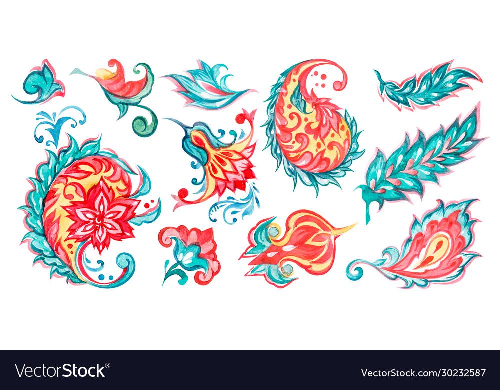 Paisley floral watercolor set