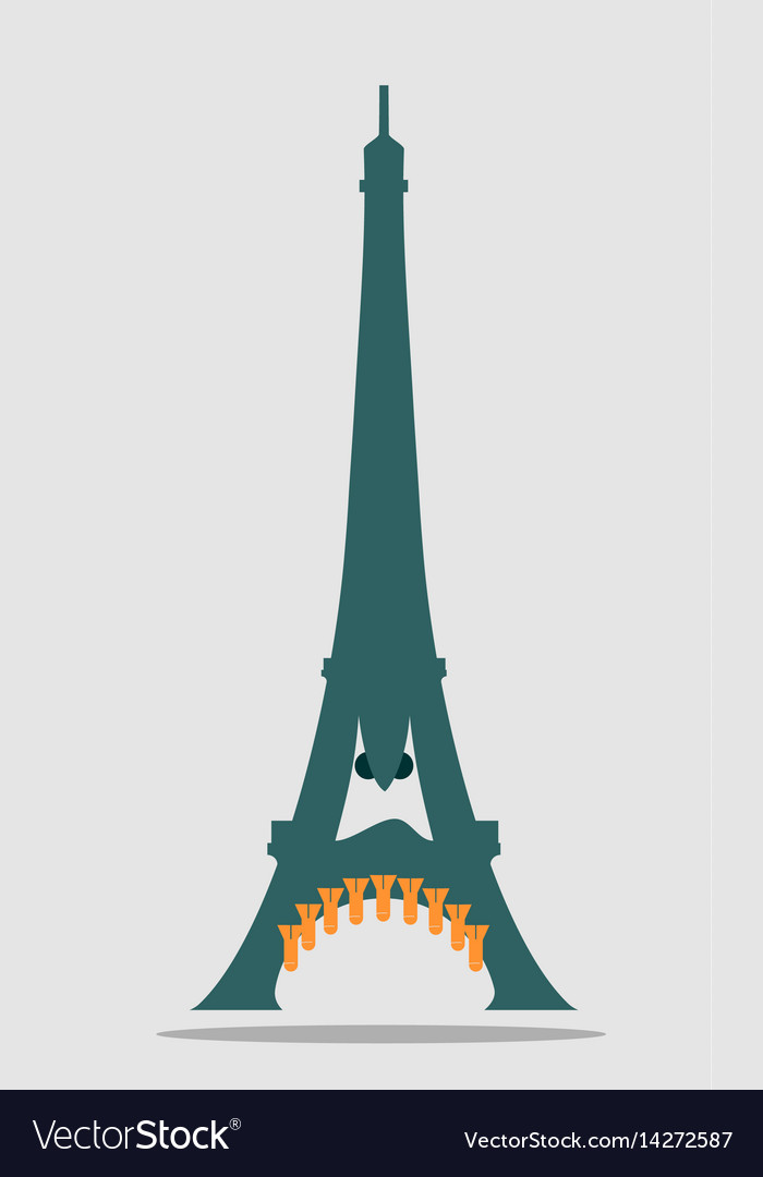 Paris Eiffel Tower With Cartoon Face Royalty Free Vector