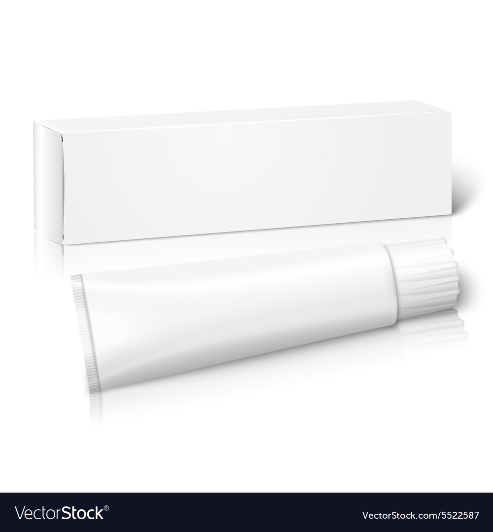 Realistic white blank paper package box with tube