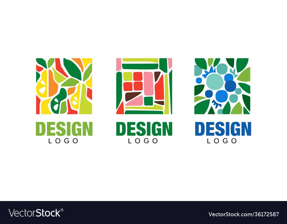 Set logo design with fresh fruits vegetarian