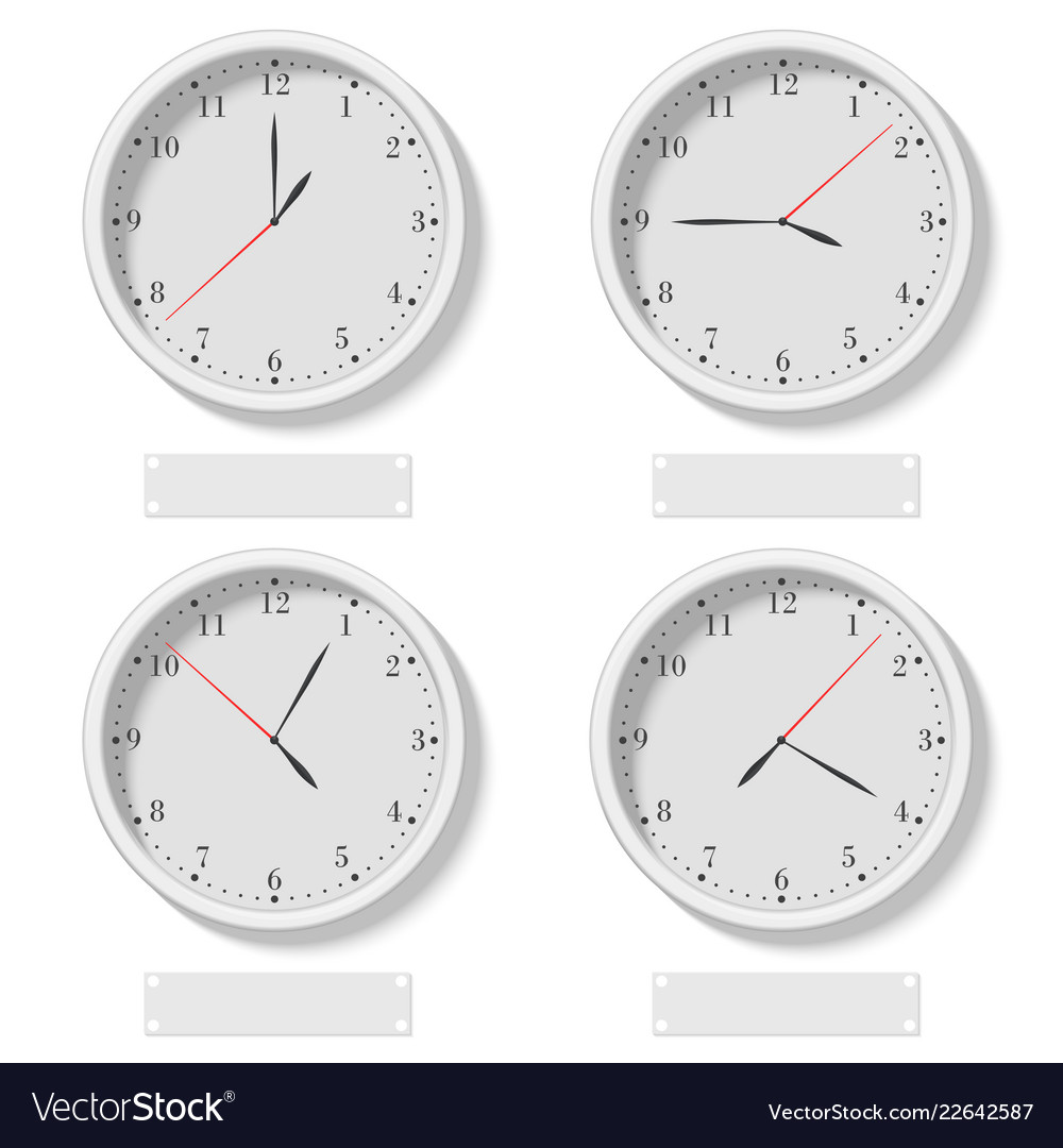 Set of realistic classic round clocks showing