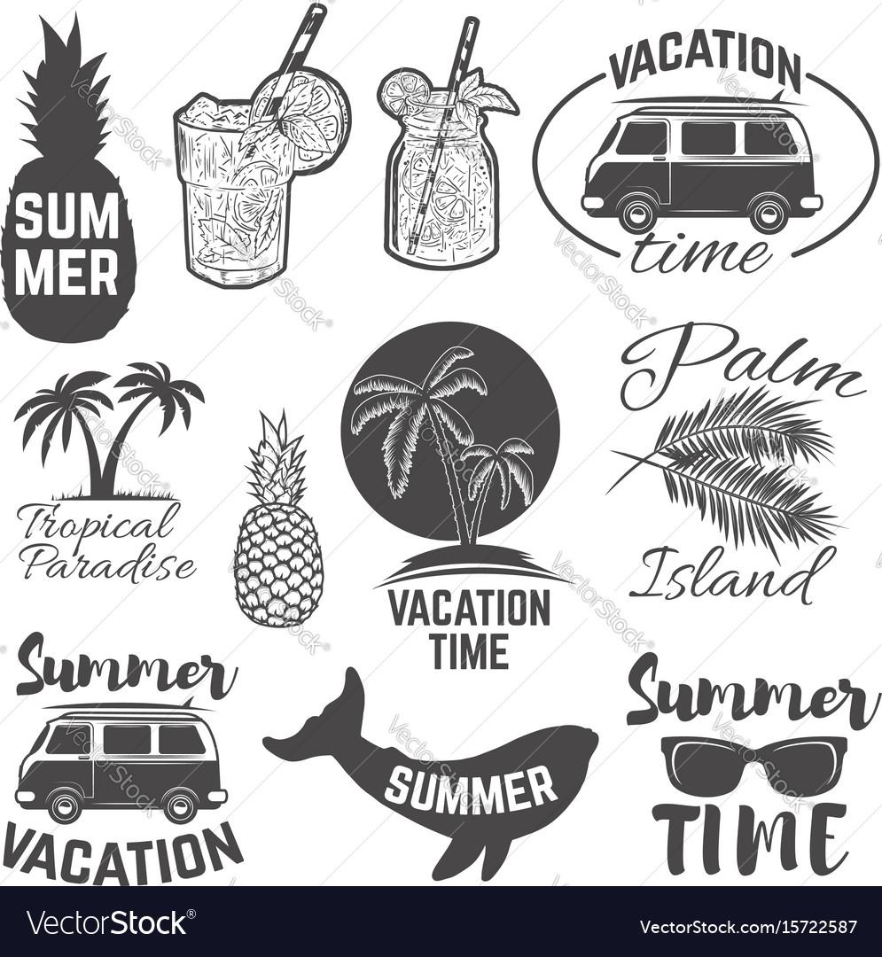Set of summertime emblems palm trees sunglasses