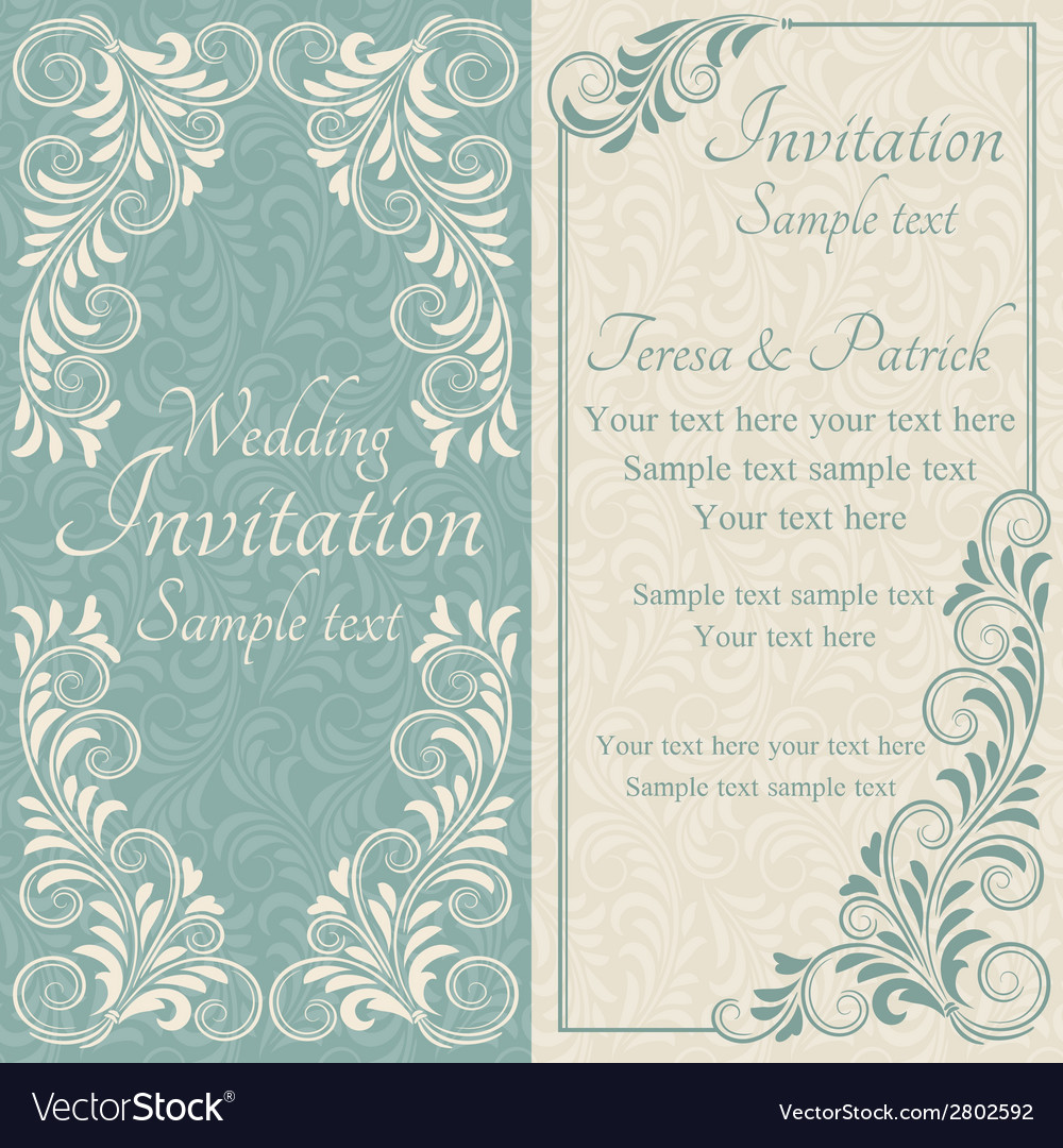 Baroque wedding invitation blue and beige vector image stopboris Choice Image