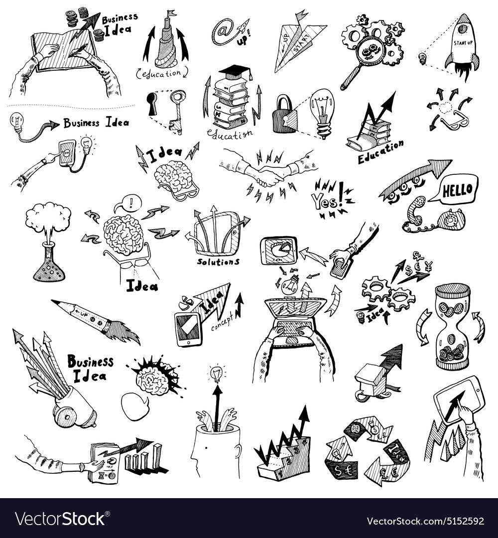 Business Idea concept doodles icons set sketch