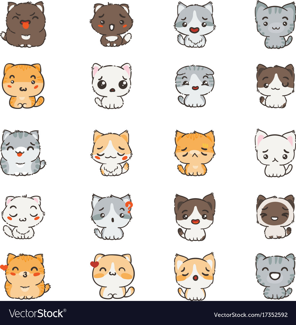 cute cartoon cats and dogs with different emotions