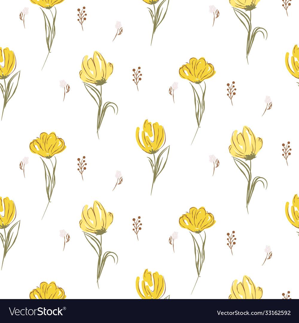 Hand drawn yellow big tulips on white seamless