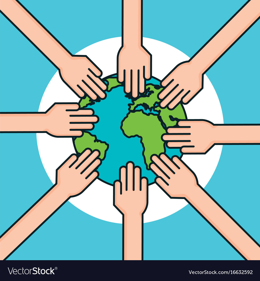 Hands Around World Symbol Peace Royalty Free Vector Image