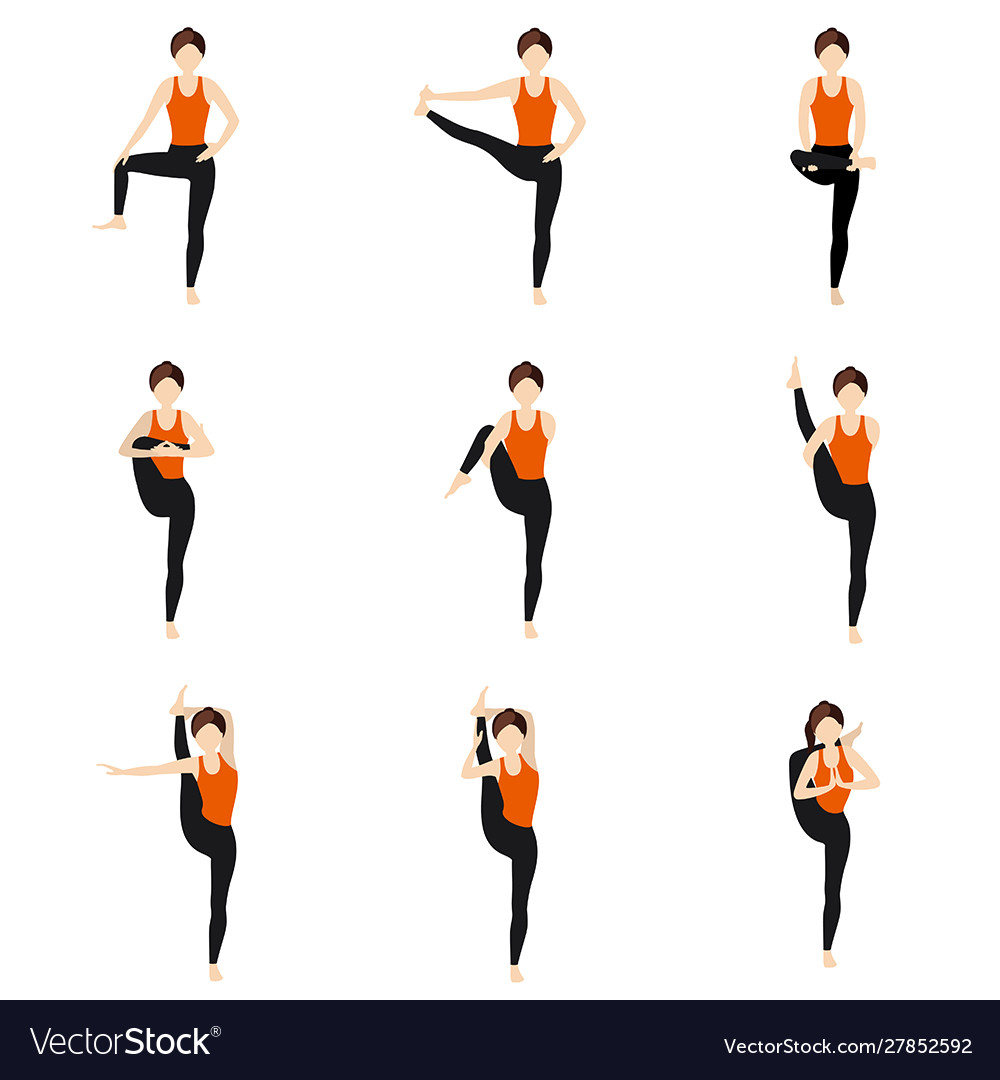 Hips Stretching Standing Yoga Asanas Set Vector Image