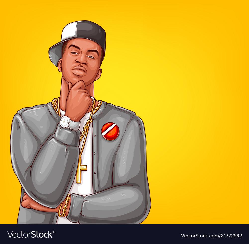 Pop art rap hip-hop male character