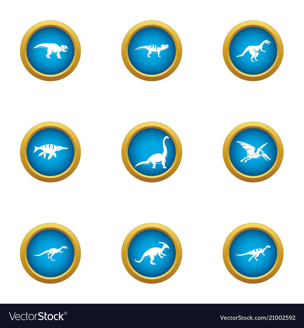 Prehistoric animal icons set flat style