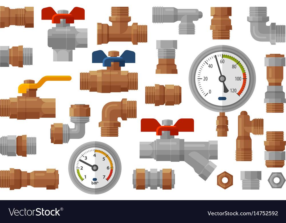 Sanitary engineering plumbing equipment set icons Vector Image