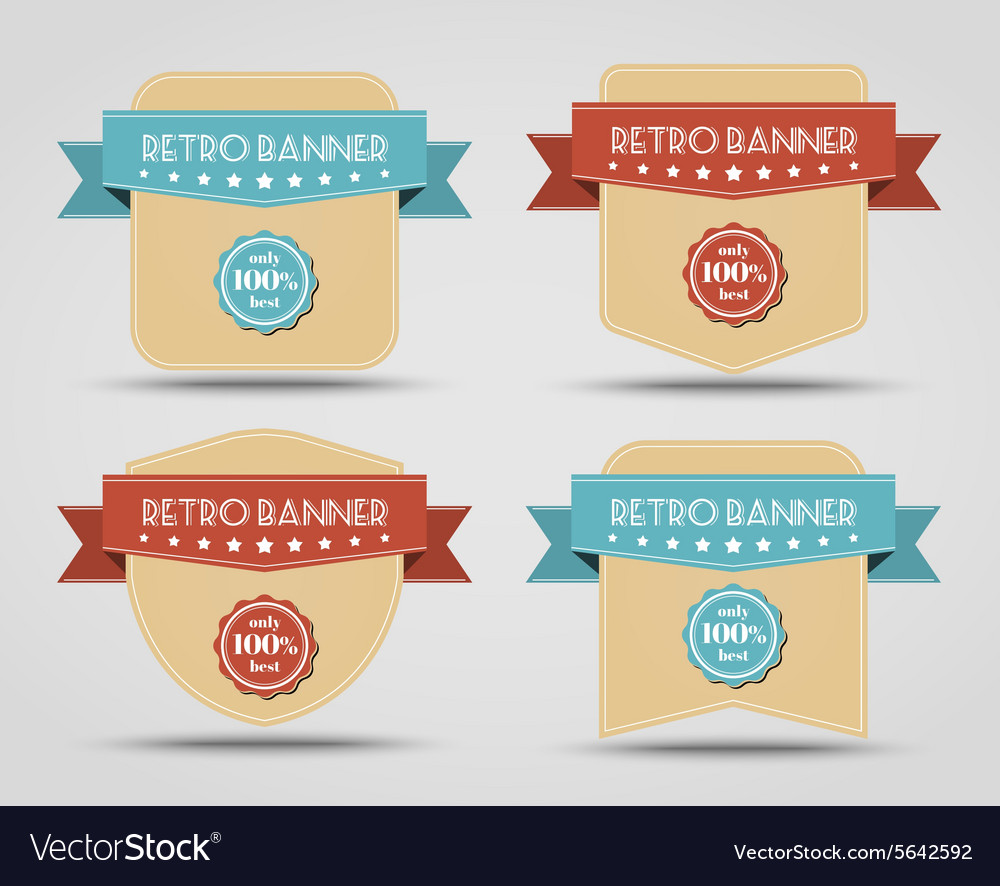 Set of retro banners labels