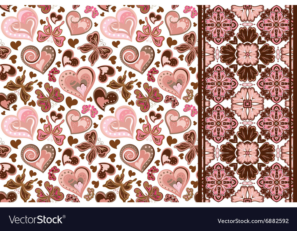 Set of valentines floral background with hearts