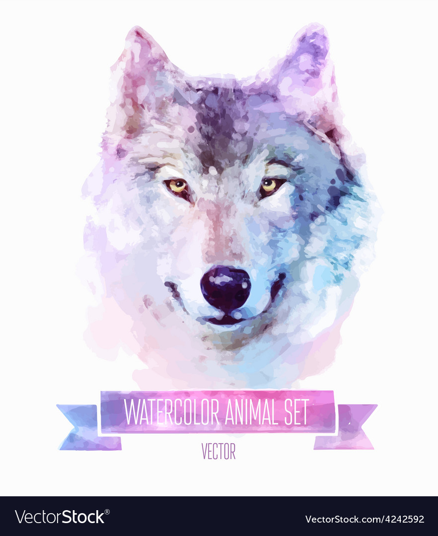 Set of watercolor Cute wolf vector image