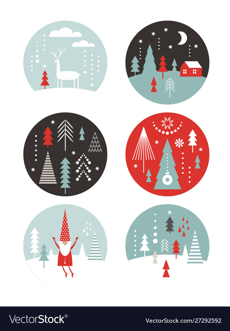 Set round label with winter and christmas illus