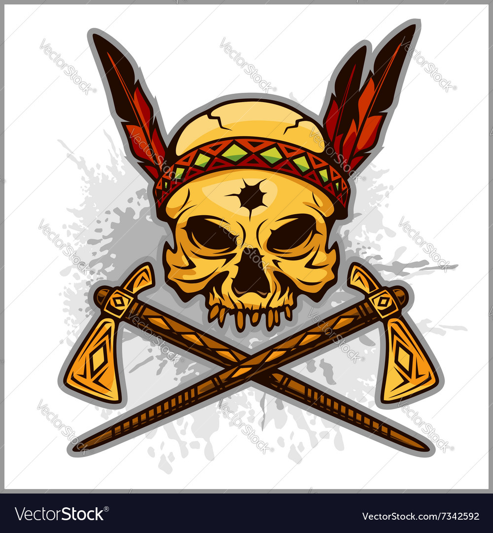 Skull Of An Indian Warrior Royalty Free Vector Image