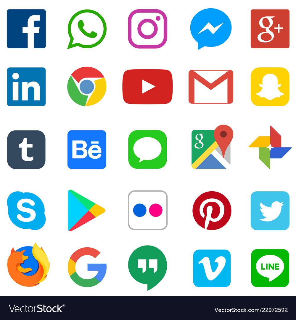 Social media icon for facebook whatsapp skype