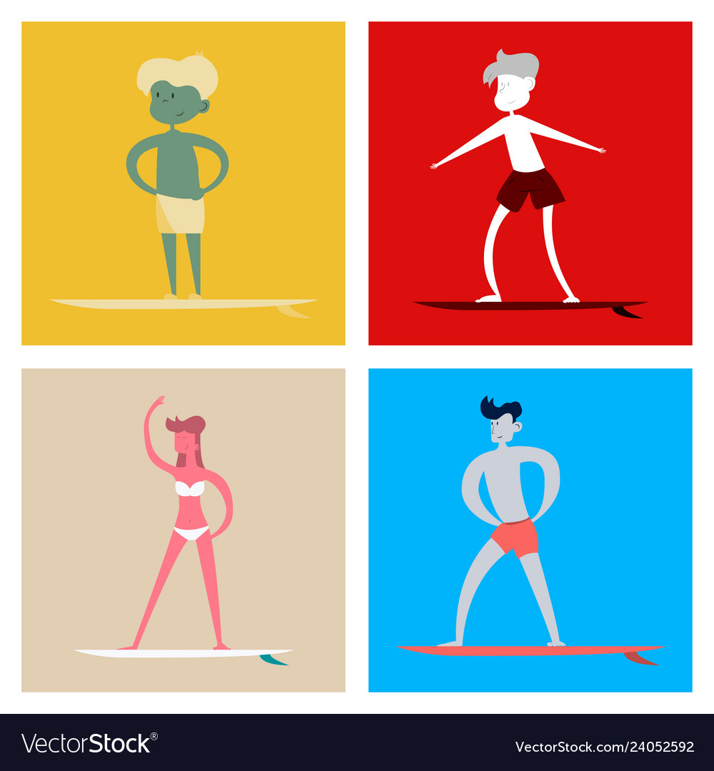Surfing people on desk composition human vector image