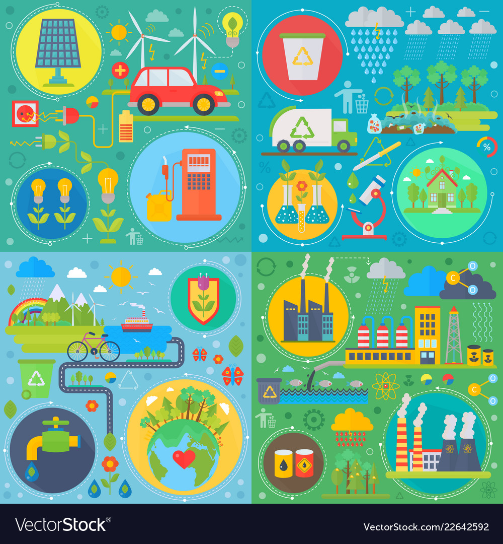 Trendy flat design ecology set of web icons