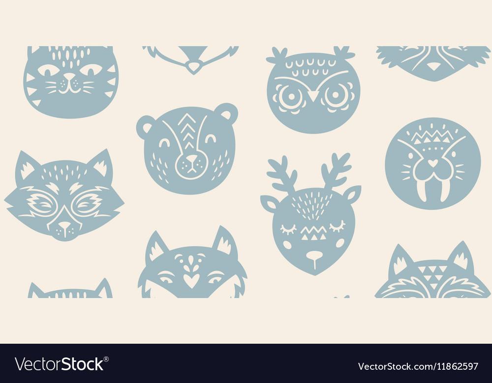 Animal paper cut seamless pattern