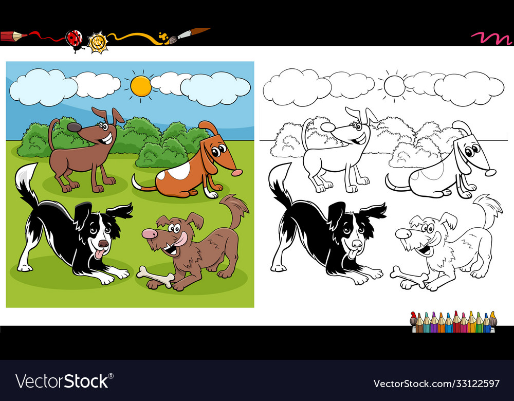 Cartoon dogs and puppies group coloring book page