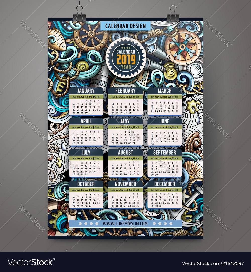 Cartoon doodles nautical 2019 year calendar