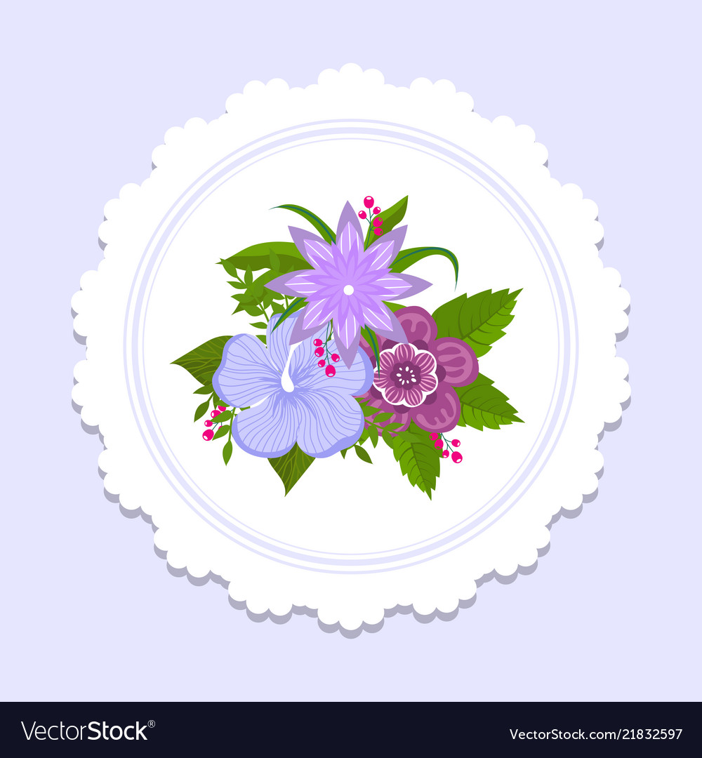 Floral plate decor banner with colorful