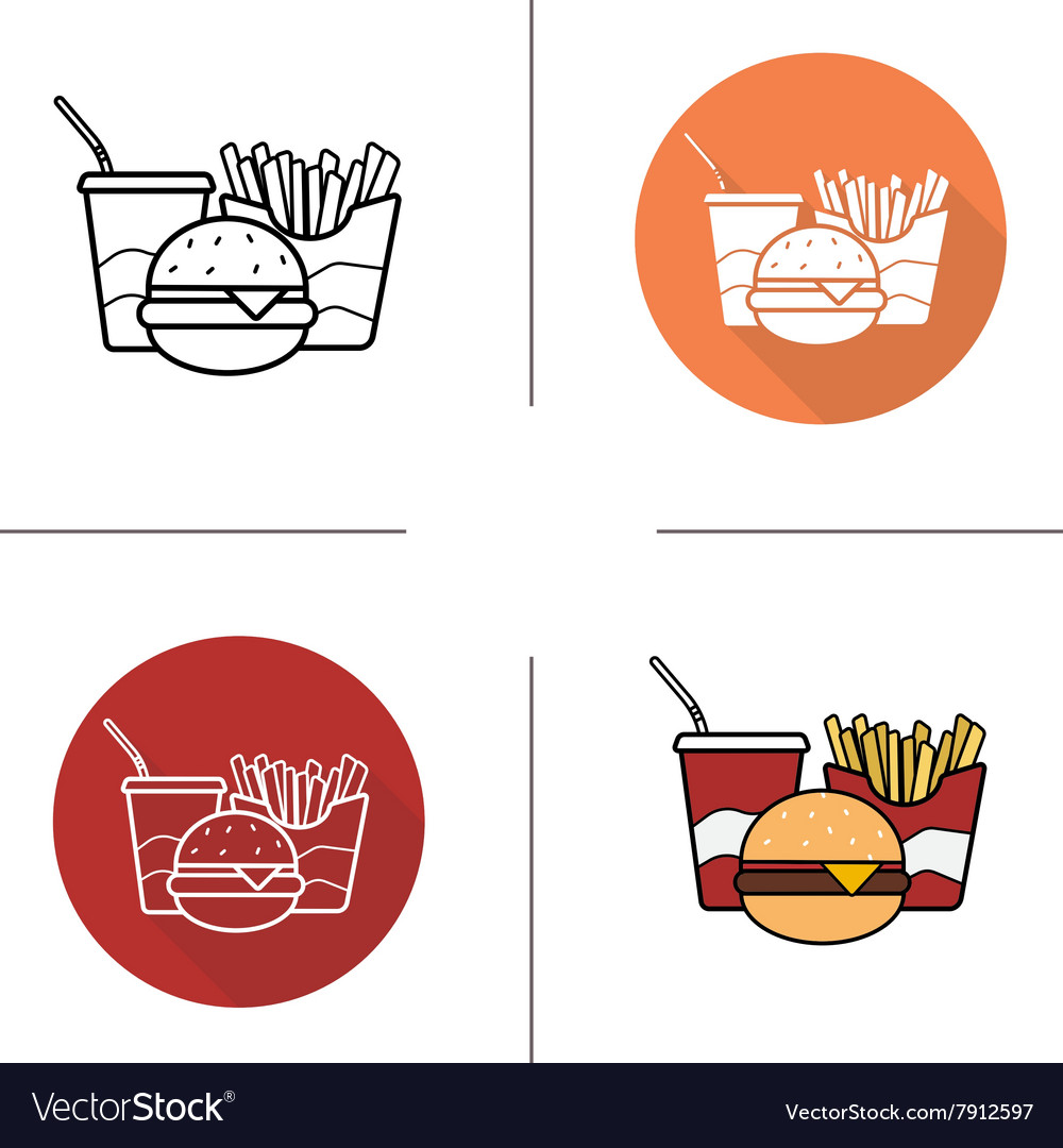 Food flat design linear and color icons set