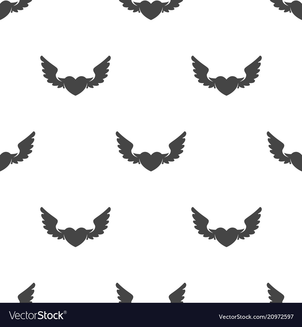 Heart with wings seamless pattern
