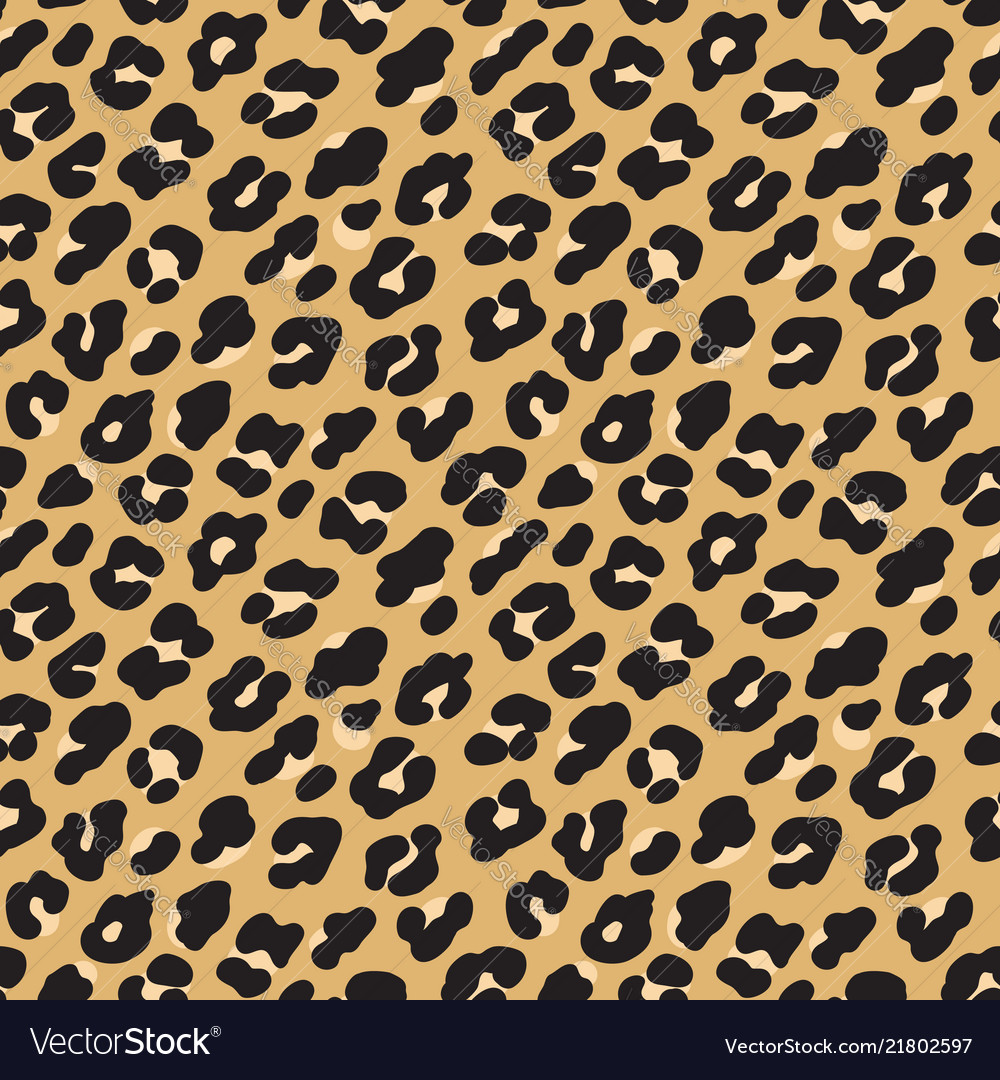 Leopard print brown black fur seamless pattern
