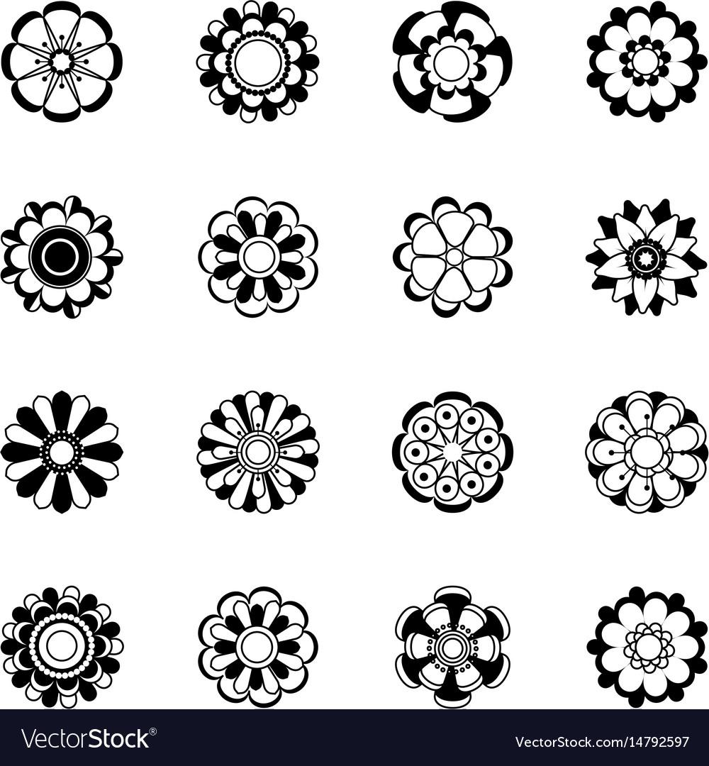 Monochrome floral icon set black flowers