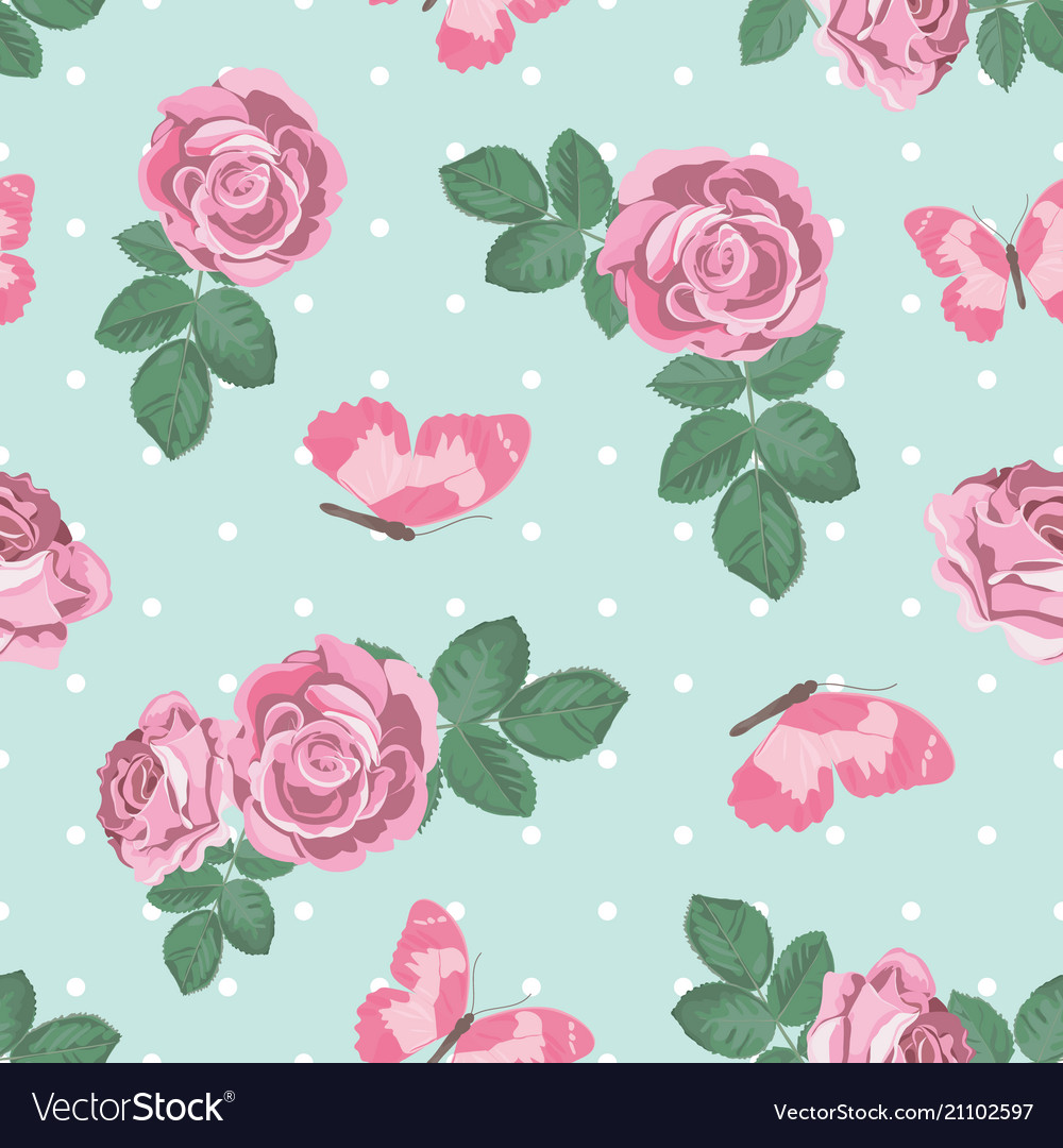 Shabby chic roses and butterflies seamless pattern