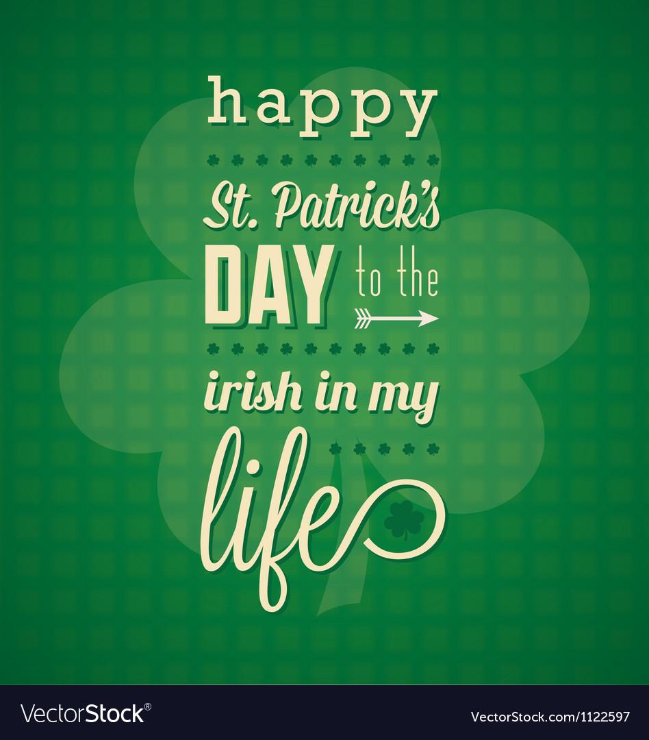 St Patricks Day Card and Wallpaper vector image