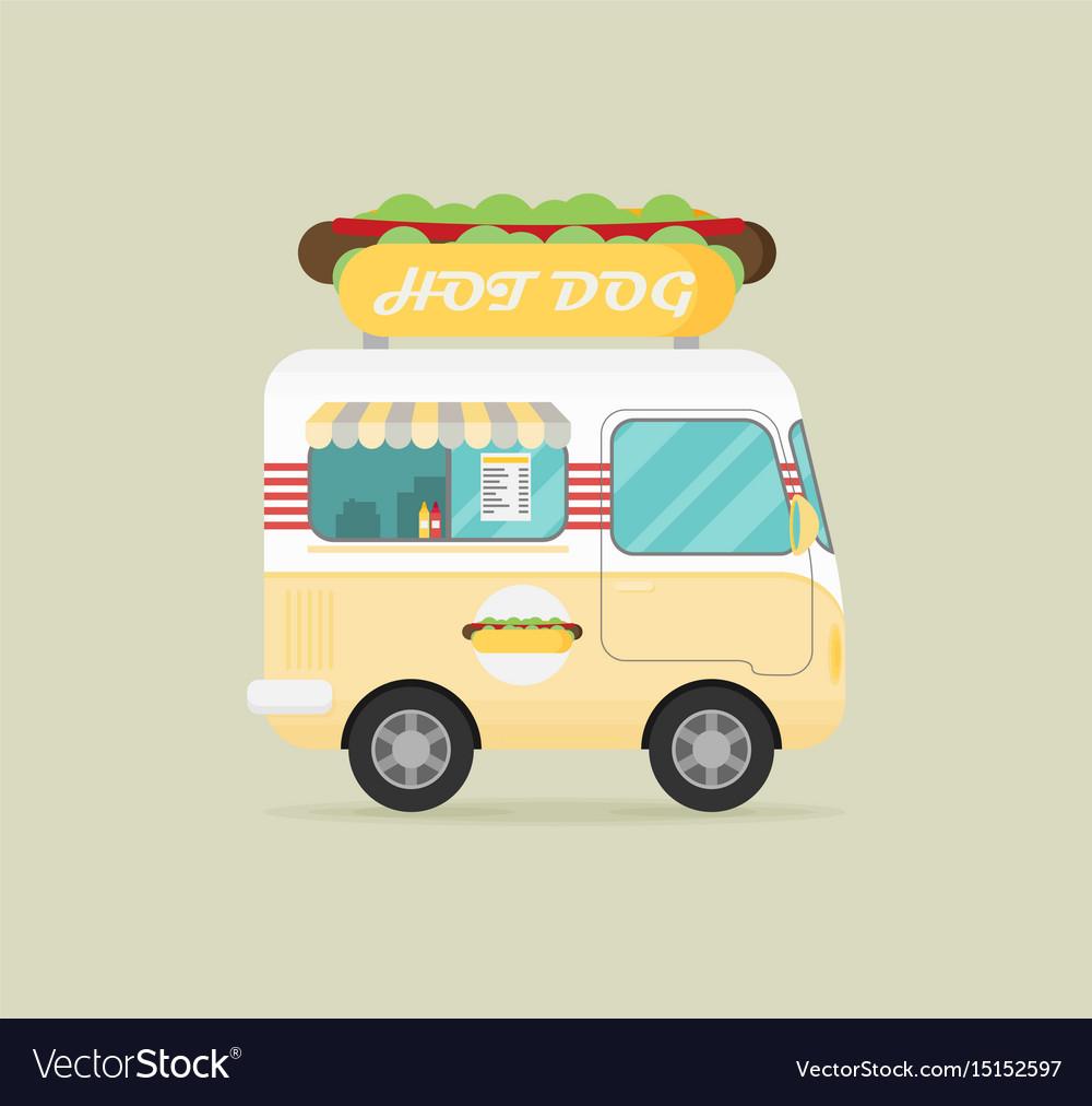 Street fast food truck set flat design