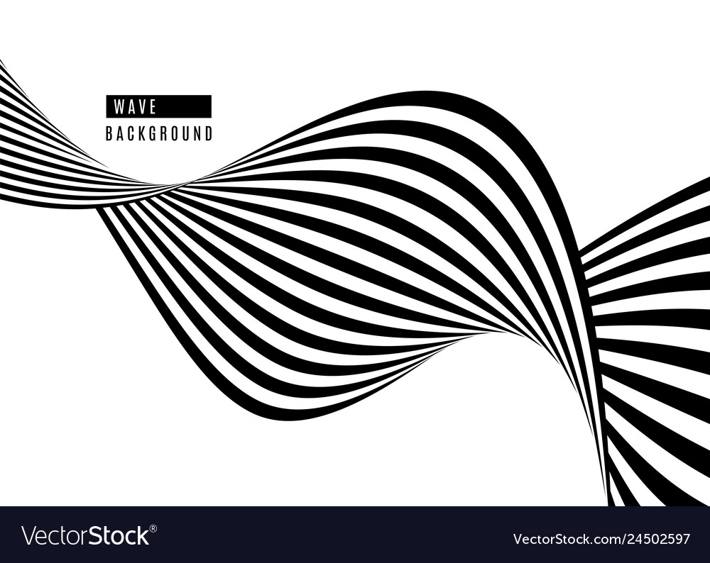 Stripe wave background design with black and white