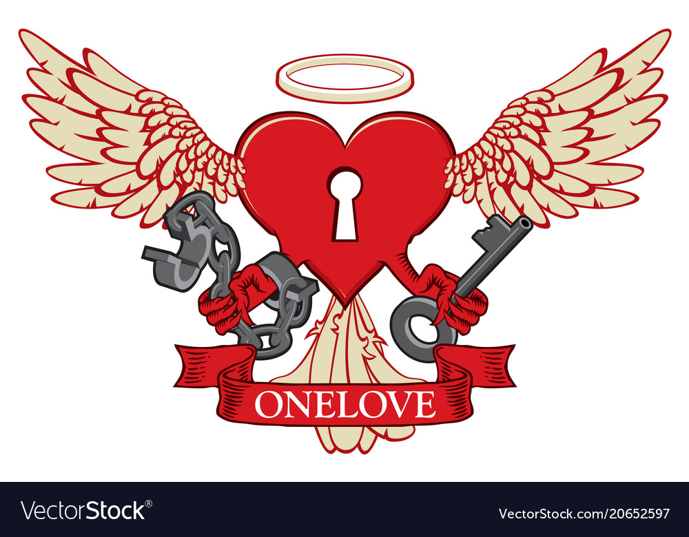 T-shirt design with lock in shape of winged heart