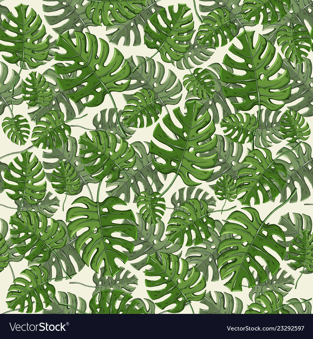 Tropical leaves seamless pattern with