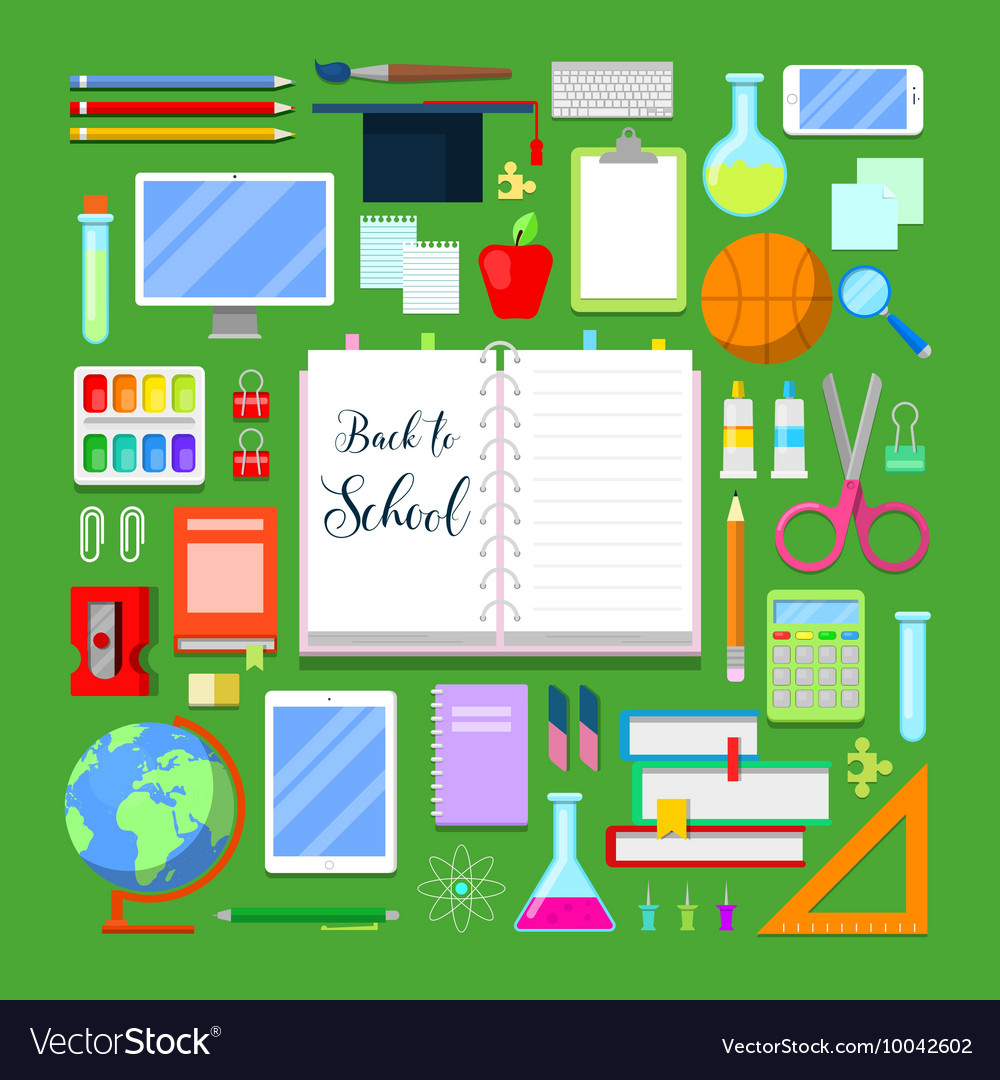Back to School Background with Education Icon Set
