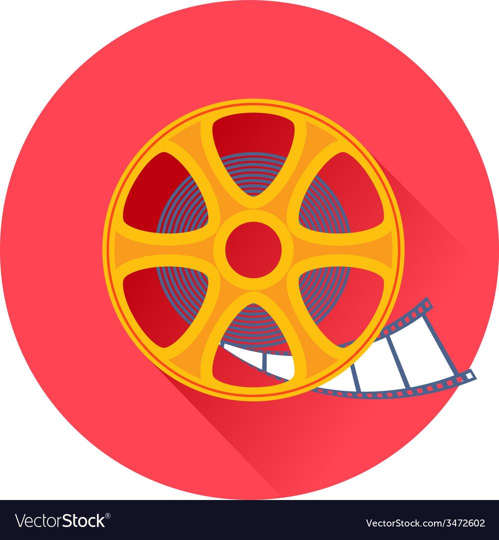 Cinema Film Movie Reel Icon Royalty Free Vector Image