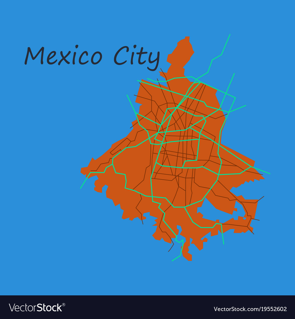 Flat color map of mexico city mexico city plan of