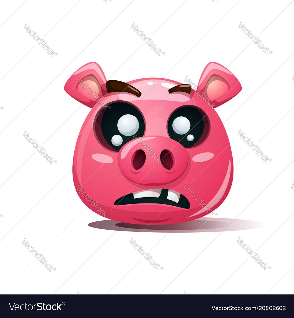 Funny cute crazy pig icon dead smiley symbol