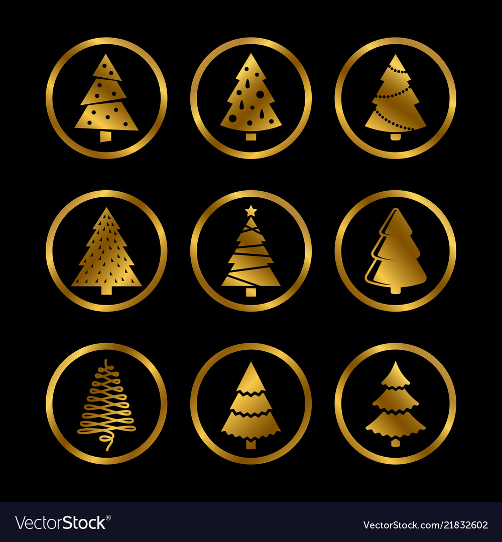 Gold silhouette christmas trees icons on