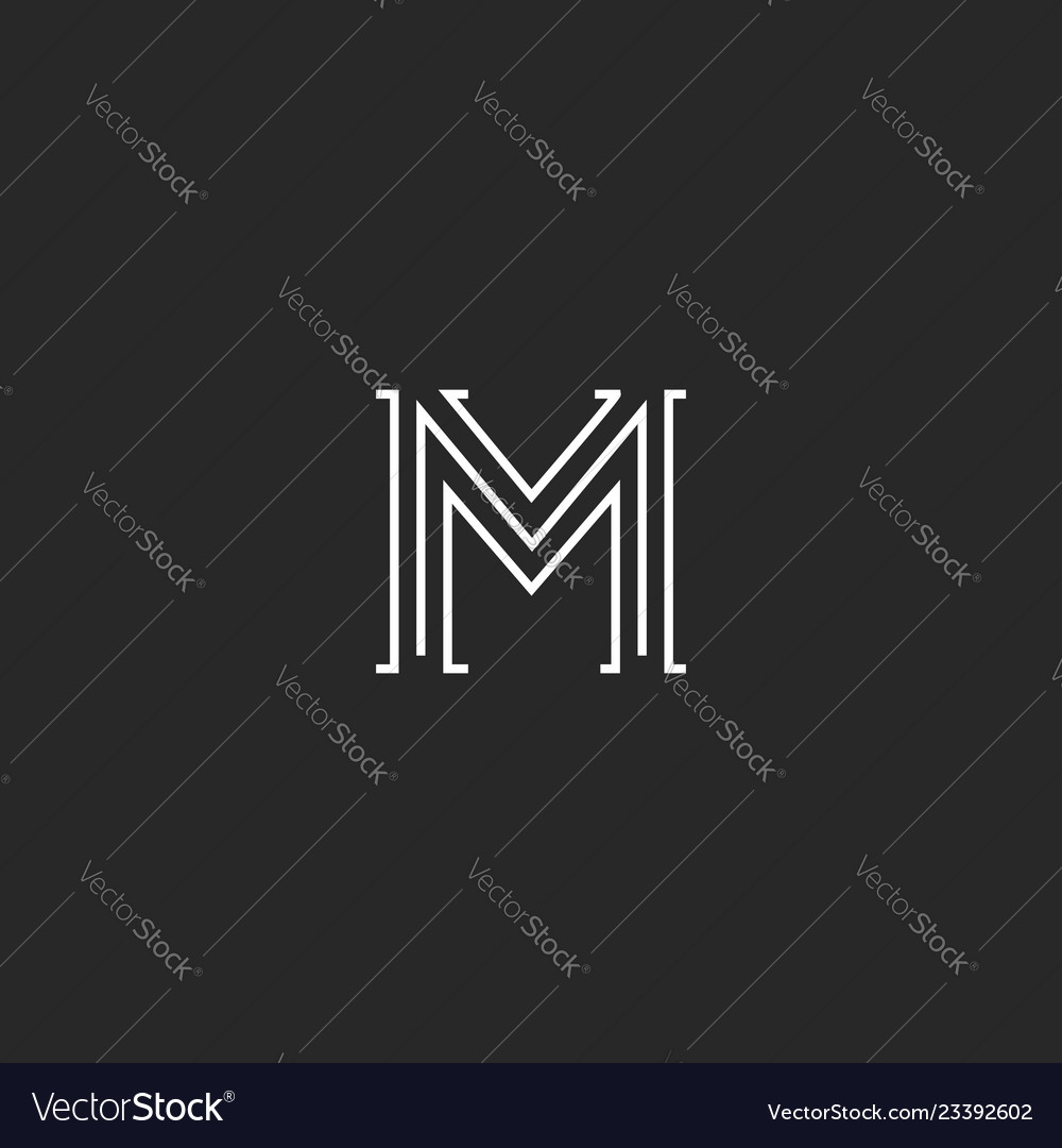 Logo m letter medieval with old serif old