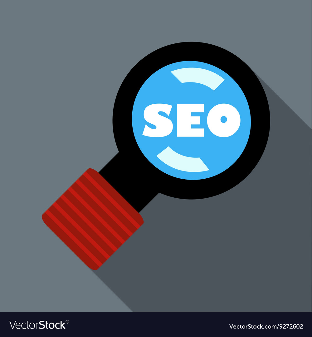 Magnifying glass with text SEO icon flat style