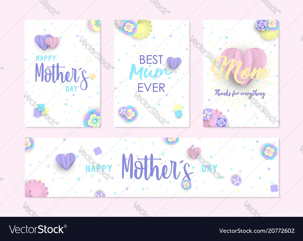 Mother day cute label and greeting card set