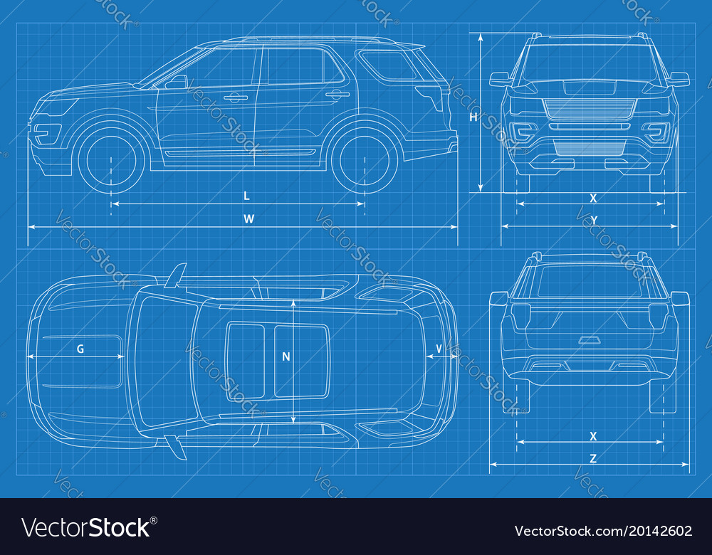 Off road car schematic or suv car blueprint vector image malvernweather Gallery