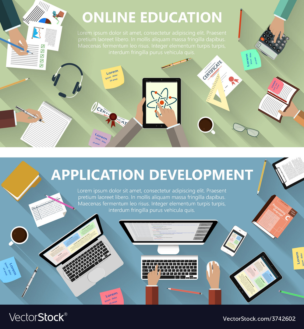 Online education and app development concept vector image