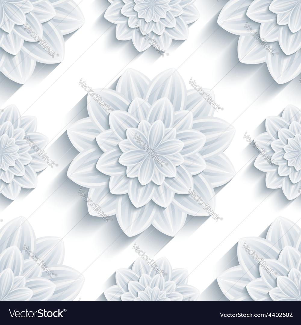 Seamless Pattern Grey With 3d Flower Chrysanthemum