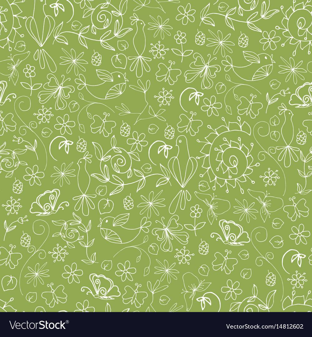 Sketch summer organic seamless pattern