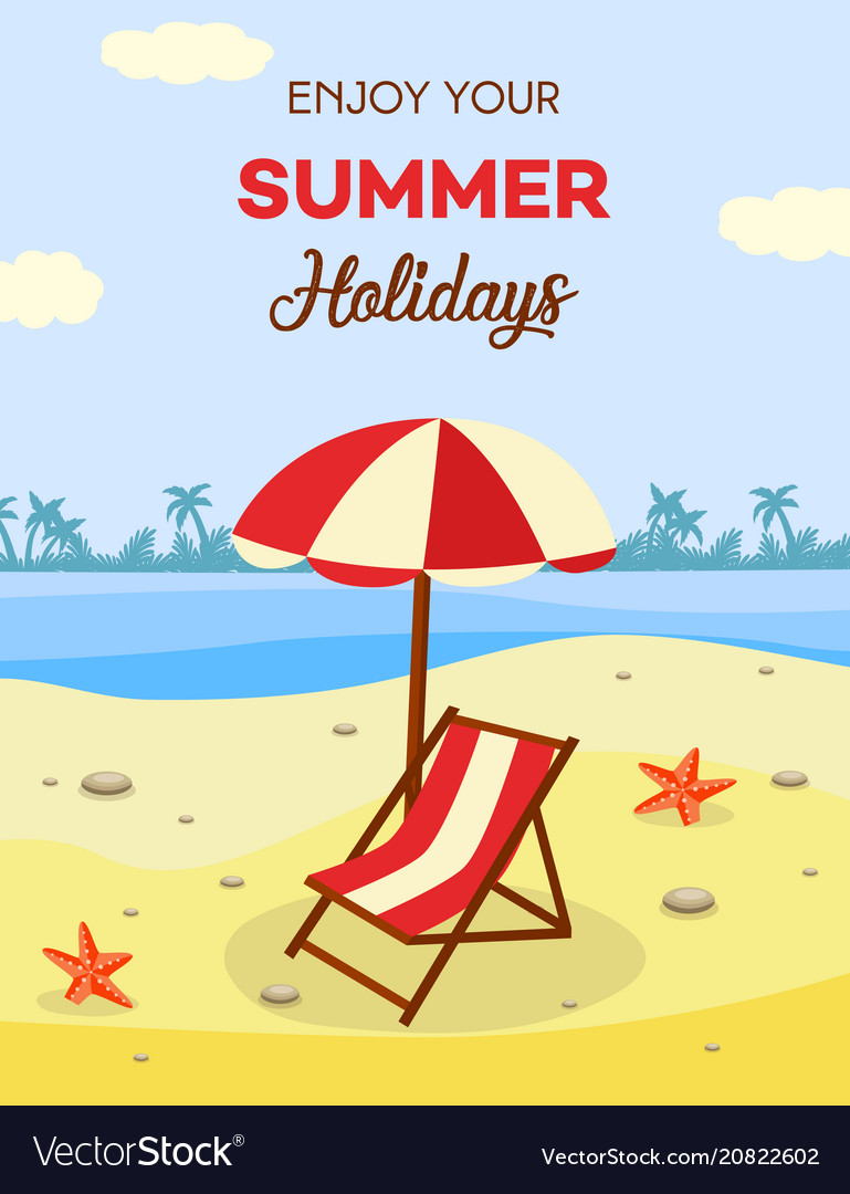Summer beach vacation with lounge and umbrella on